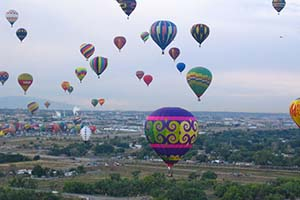 View from Balloon looking back at Fiesta Park in Alququerque, NM