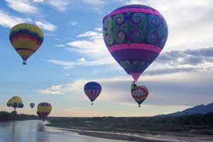 Lucy in the Sky flying at balloon Fiesta in Albuquerque, NMT